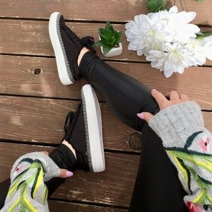 LIMITED SIZES 🌻Black Sateen Tennis Shoe W/Rope 🌻